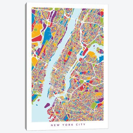 New York City Street Map, Color, Vertical Canvas Print #MTO513} by Michael Tompsett Art Print