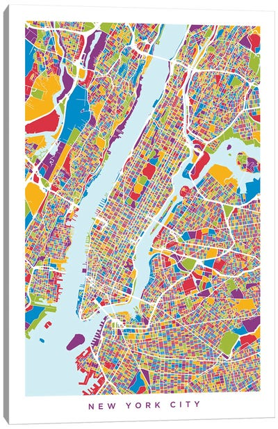 New York City Street Map, Color, Vertical Canvas Art Print