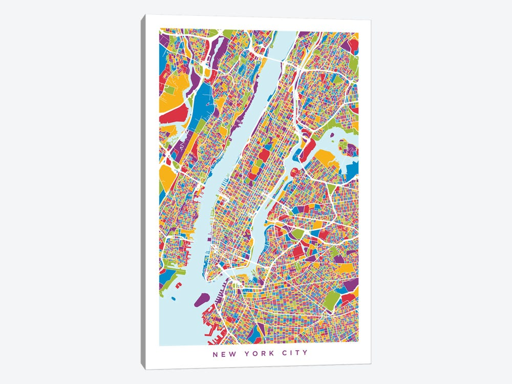 New York City Street Map, Color, Vertical by Michael Tompsett 1-piece Canvas Art Print
