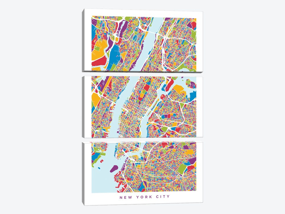 New York City Street Map, Color, Vertical by Michael Tompsett 3-piece Canvas Art Print