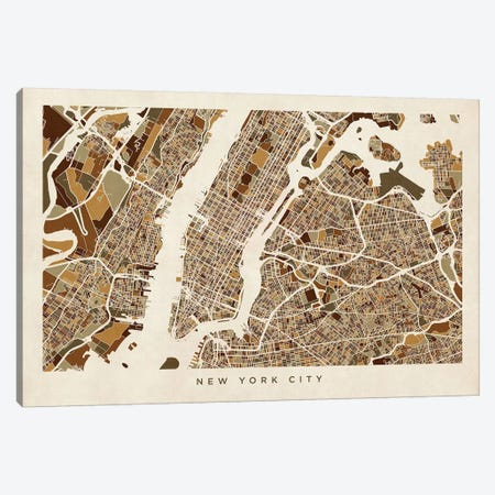 New York City Street Map, Browns, Horizontal Canvas Print #MTO514} by Michael Tompsett Canvas Artwork