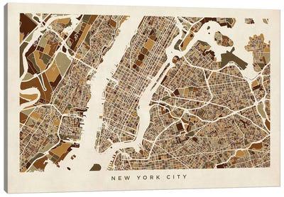 New York City Street Map, Browns, Horizontal Canvas Art Print
