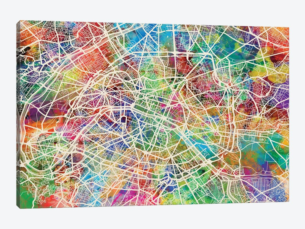 Paris, France Street Map by Michael Tompsett 1-piece Art Print