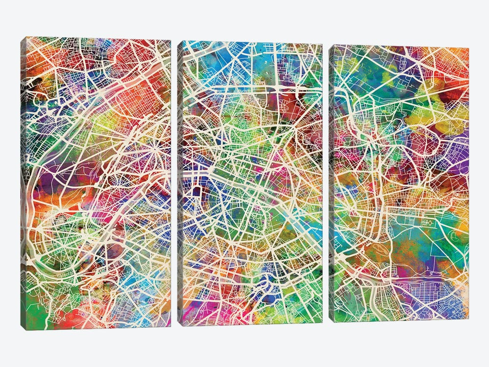 Paris, France Street Map by Michael Tompsett 3-piece Canvas Art Print