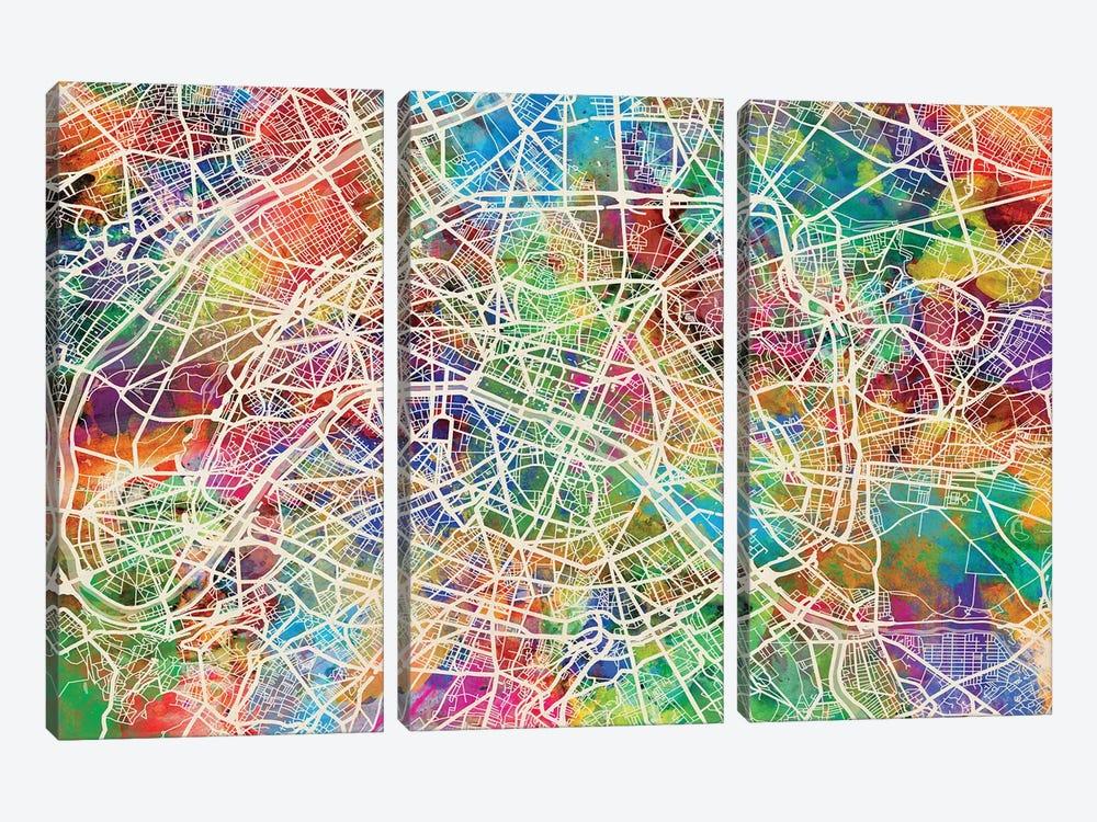 Paris, France Street Map by Michael Tompsett 3-piece Canvas Art Print