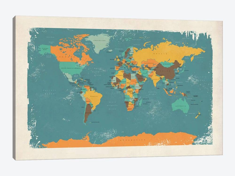 Retro Political Map Of The World I by Michael Tompsett 1-piece Canvas Art