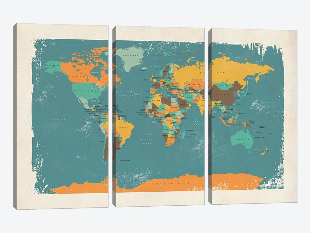 Retro Political Map Of The World I by Michael Tompsett 3-piece Canvas Art