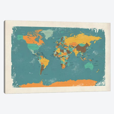 Retro Political Map Of The World I Canvas Print #MTO516} by Michael Tompsett Canvas Artwork