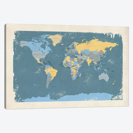 Retro Political Map Of The World II Canvas Print #MTO517} by Michael Tompsett Canvas Artwork