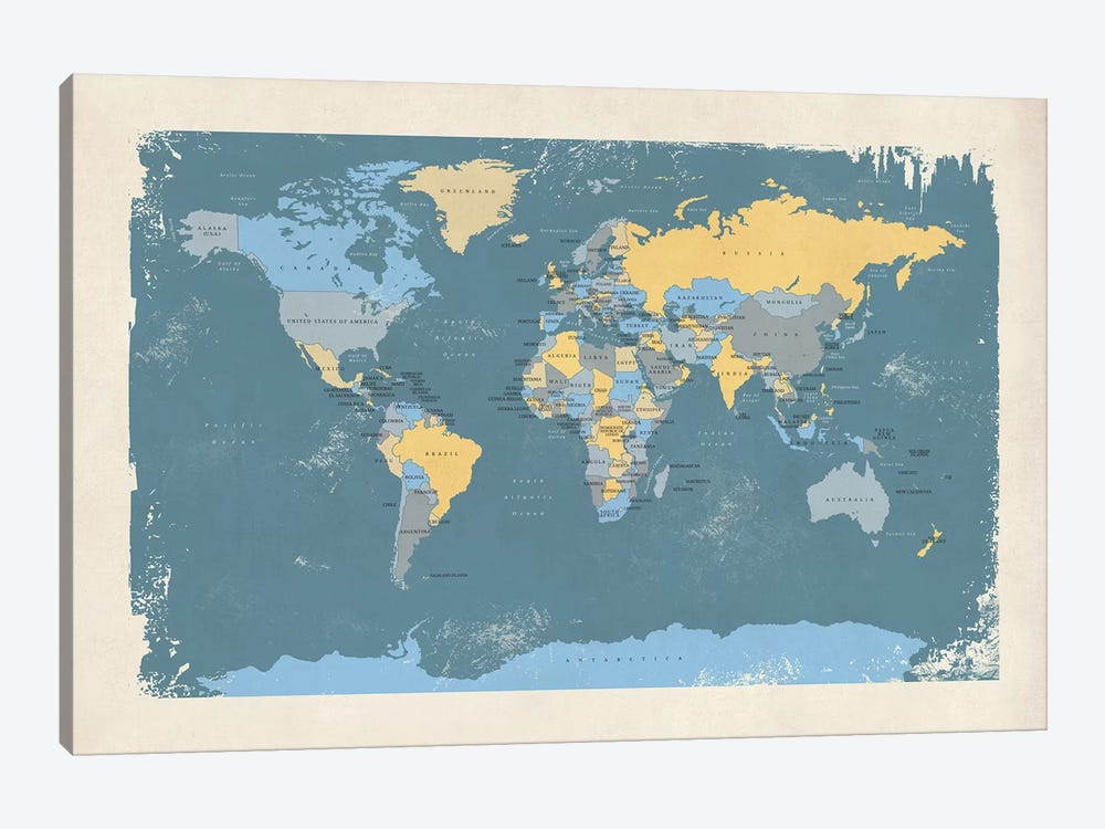 Retro Political Map Of The World II by Michael Tompsett 1-piece Canvas Print