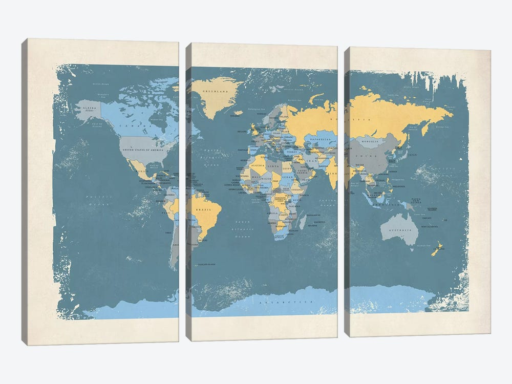 Retro Political Map Of The World II by Michael Tompsett 3-piece Art Print