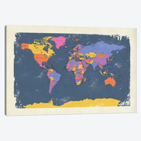 Retro Political Map Of The World III Canvas Print #MTO518} by Michael Tompsett Art Print