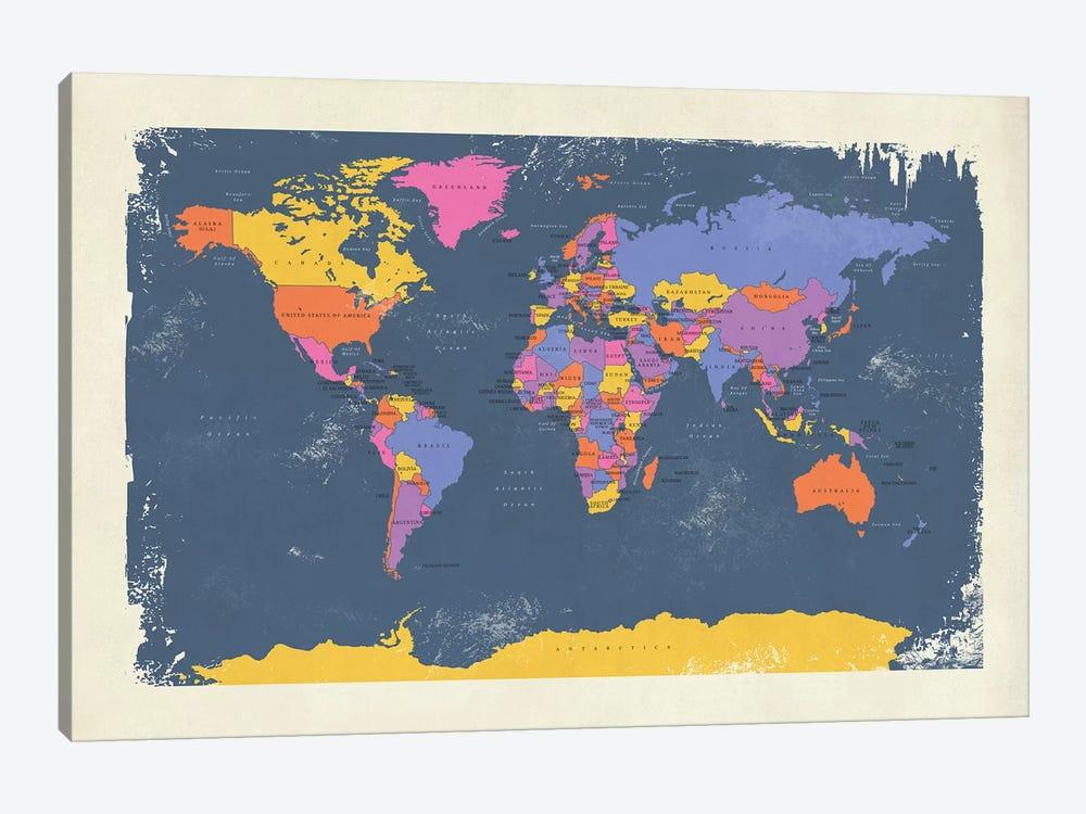 Retro Political Map Of The World III by Michael Tompsett 1-piece Canvas Art