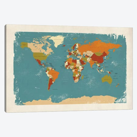 Retro Political Map Of The World IV Canvas Print #MTO519} by Michael Tompsett Canvas Print