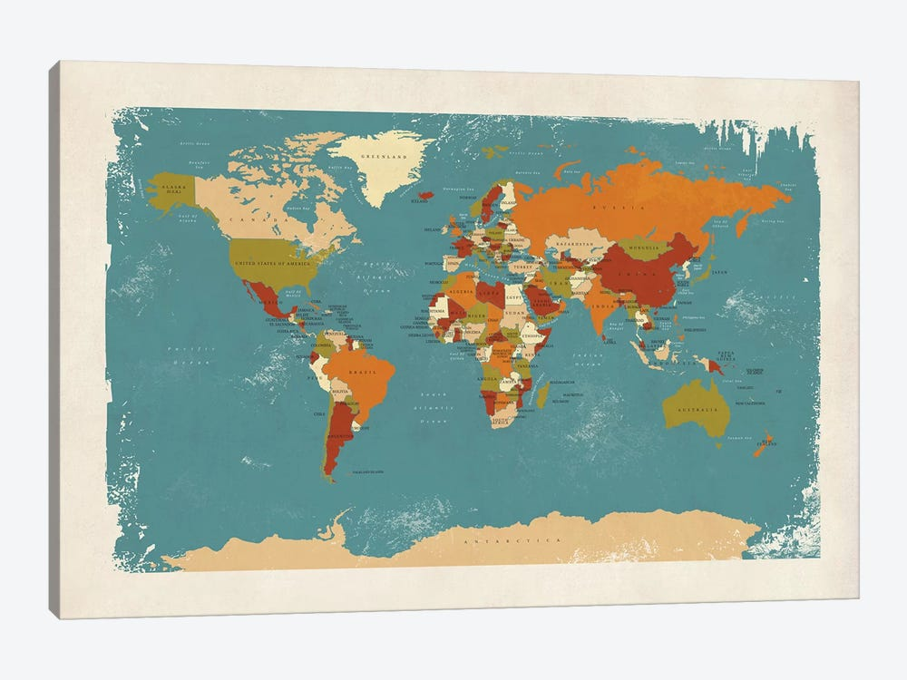 Retro Political Map Of The World IV by Michael Tompsett 1-piece Art Print