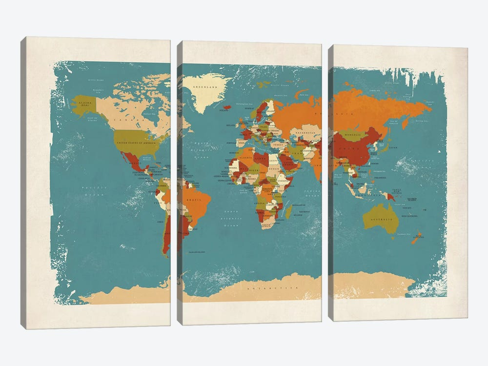 Retro Political Map Of The World IV by Michael Tompsett 3-piece Canvas Art Print