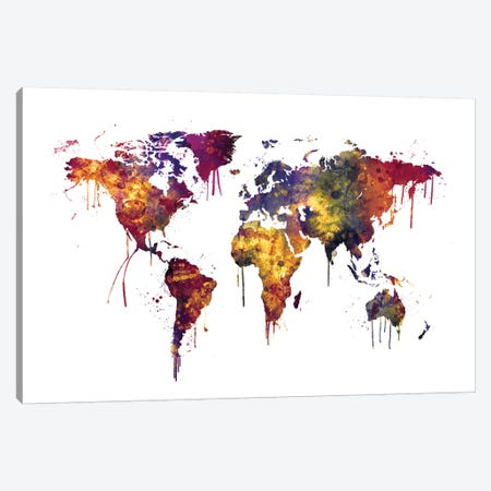Watercolor Map Of The World Map, Dark Colors Canvas Print #MTO521} by Michael Tompsett Canvas Art