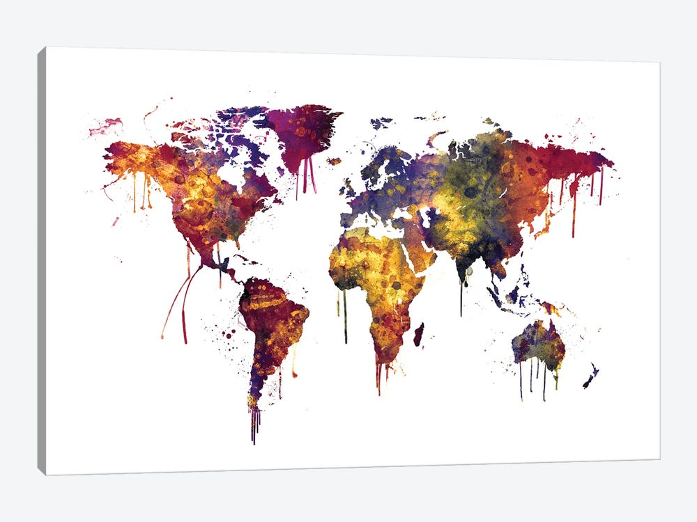 Watercolor Map Of The World Map, Dark Colors by Michael Tompsett 1-piece Canvas Art
