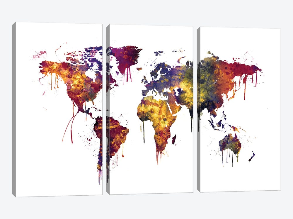 Watercolor Map Of The World Map, Dark Colors by Michael Tompsett 3-piece Canvas Wall Art