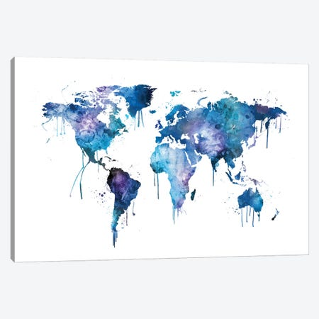Watercolor Map Of The World Map, Blues & Purples Canvas Print #MTO522} by Michael Tompsett Canvas Art