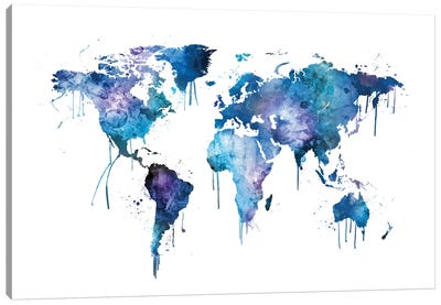 Watercolor Map Of The World Map, Blues & Purples Canvas Art Print