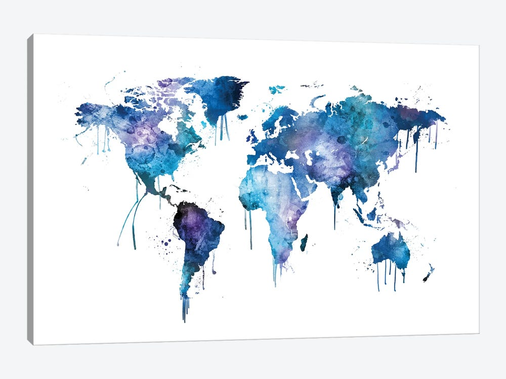 Watercolor Map Of The World Map, Blues & Purples by Michael Tompsett 1-piece Canvas Print