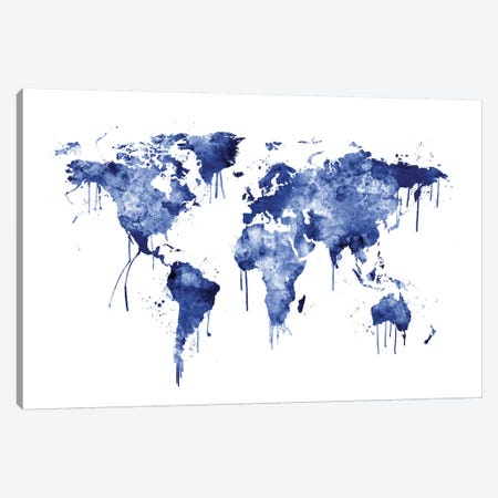 Watercolor Map Of The World Map, Blue Canvas Print #MTO523} by Michael Tompsett Canvas Art