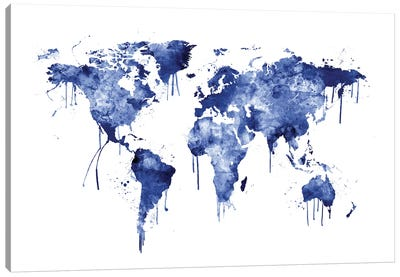 Watercolor Map Of The World Map, Blue Canvas Art Print