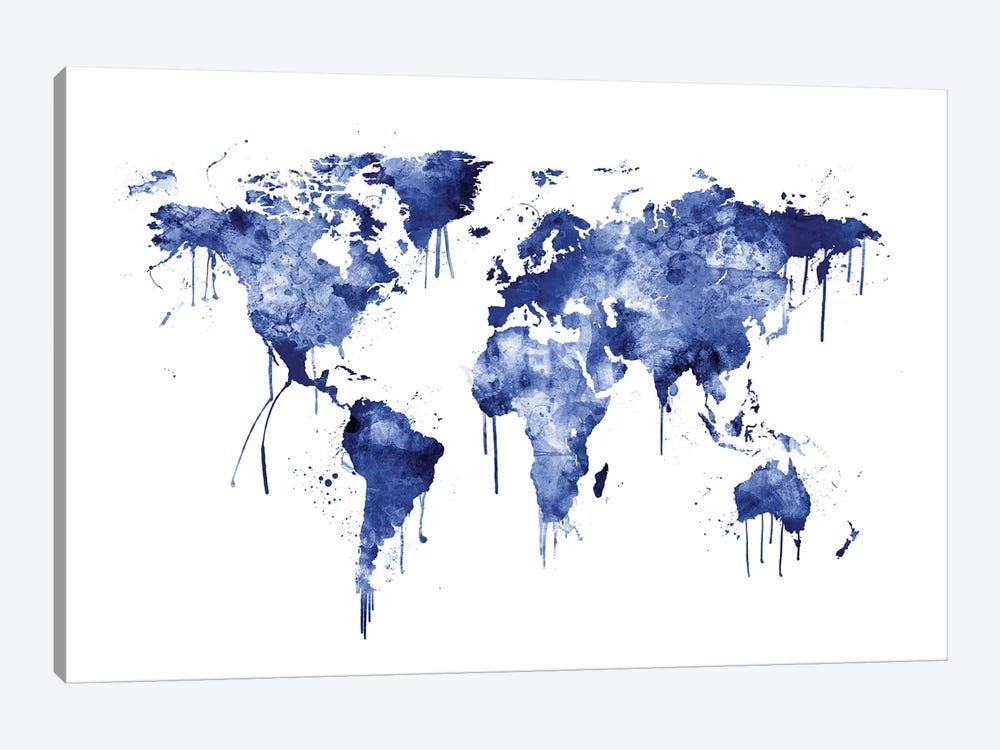 Watercolor Map Of The World Map, Blue by Michael Tompsett 1-piece Canvas Artwork