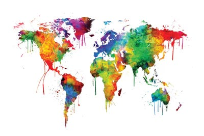 Watercolor Map Of The World Map Bright Col Michael Tompsett Icanvas