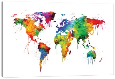 Watercolor Map Of The World Map, Bright Colors Canvas Art Print