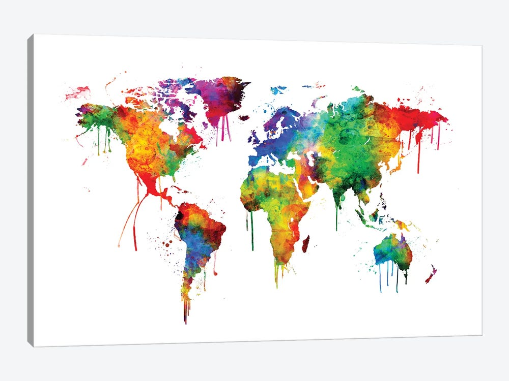 Watercolor Map Of The World Map, Bright Col... | Michael Tompsett | iCanvas