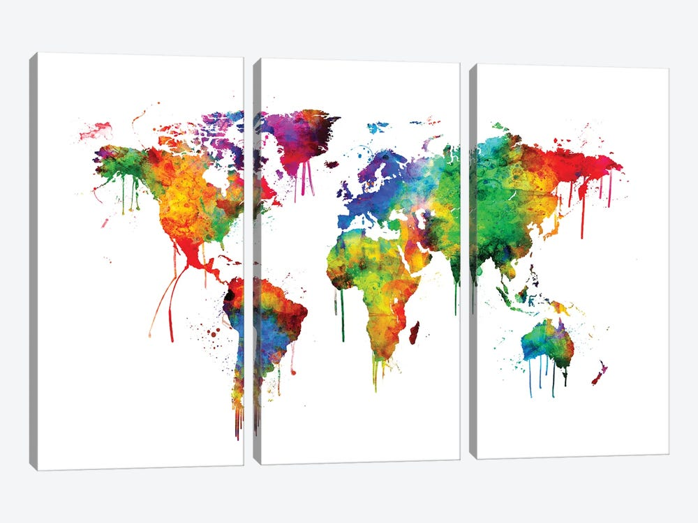 Watercolor Map Of The World Map, Bright Colors by Michael Tompsett 3-piece Art Print