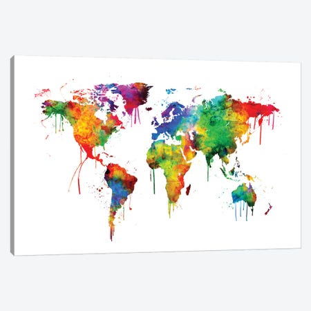 Watercolor Map Of The World Map, Bright Colors Canvas Print #MTO524} by Michael Tompsett Canvas Print