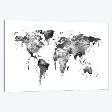 Watercolor Map Of The World Map, Gray Scale Canvas Print #MTO525} by Michael Tompsett Canvas Print