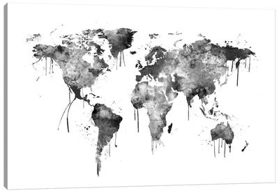 Watercolor Map Of The World Map, Gray Scale Canvas Art Print