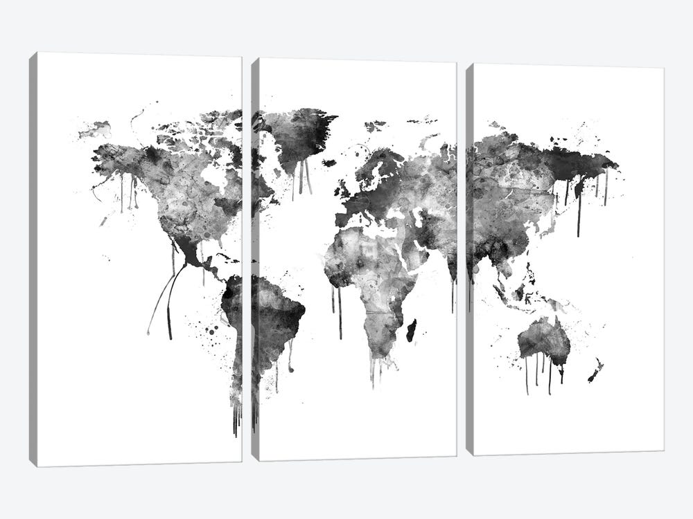 Watercolor Map Of The World Map, Gray Scale by Michael Tompsett 3-piece Canvas Wall Art