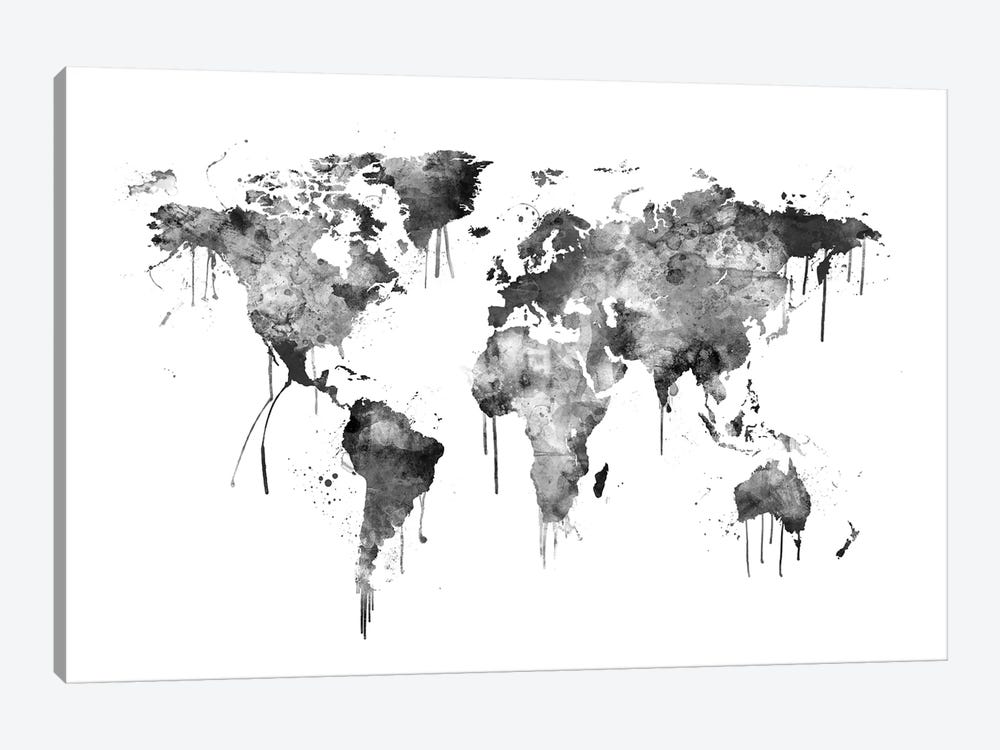 Watercolor Map Of The World Map, Gray Scale by Michael Tompsett 1-piece Canvas Art