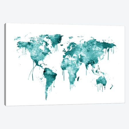 Watercolor Map Of The World Map, Teal Canvas Print #MTO526} by Michael Tompsett Canvas Art Print