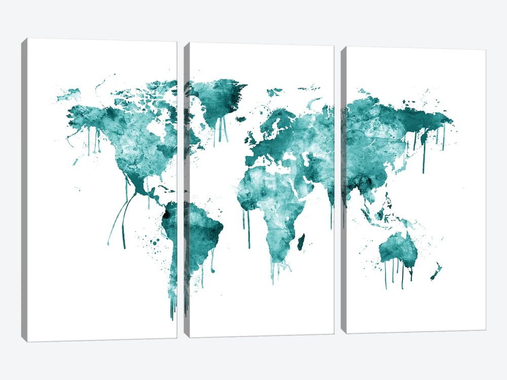 Watercolor Map Of The World Map, Teal by Michael Tompsett 3-piece Canvas Print