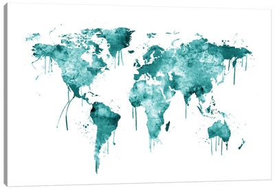 Watercolor Map Of The World Map, Teal Canvas Art Print