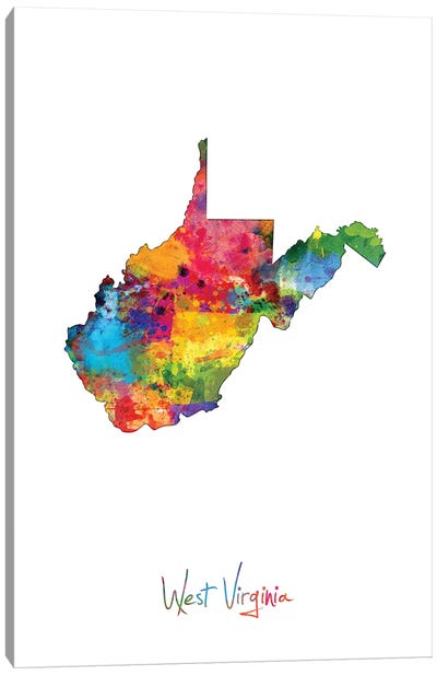 West Virginia Map Canvas Art Print