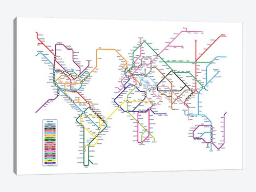 World metro tube map canvas wall art by michael tompsett icanvas world metro tube map 1 piece art print gumiabroncs Images