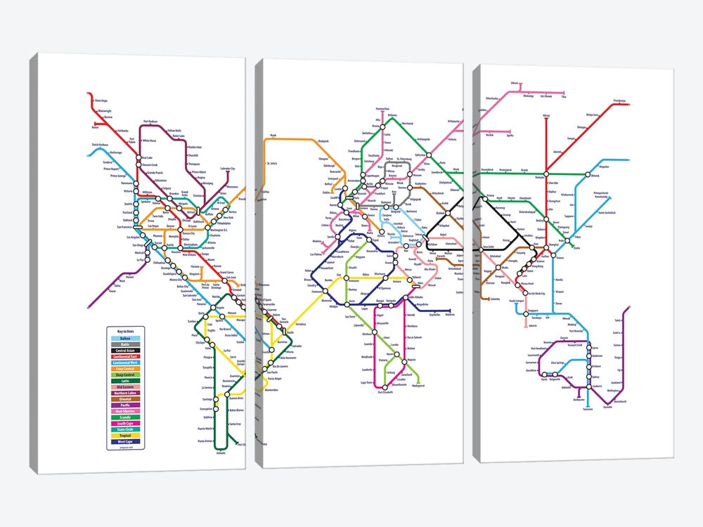 World Metro Tube Map by Michael Tompsett 3-piece Canvas Print