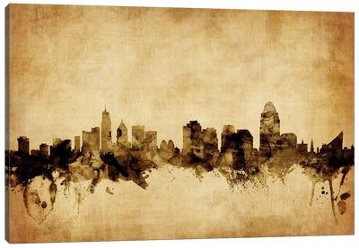 Foxed (Retro) Skyline Series: Cincinnati, Ohio, USA Canvas Print #MTO52