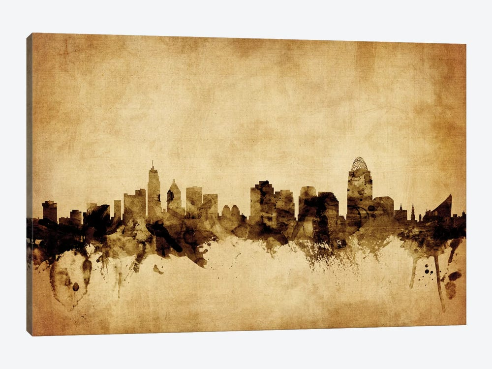 Foxed (Retro) Skyline Series: Cincinnati, Ohio, USA by Michael Tompsett 1-piece Canvas Art