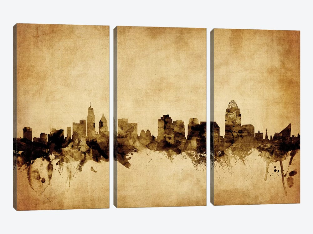 Foxed (Retro) Skyline Series: Cincinnati, Ohio, USA by Michael Tompsett 3-piece Canvas Art