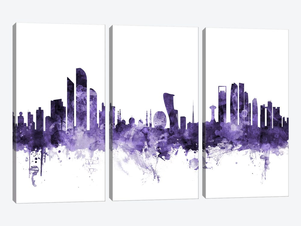 Abu Dhabi, UAE Skyline by Michael Tompsett 3-piece Canvas Art
