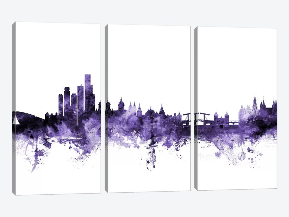 Amsterdam, The Netherlands Skyline by Michael Tompsett 3-piece Canvas Wall Art