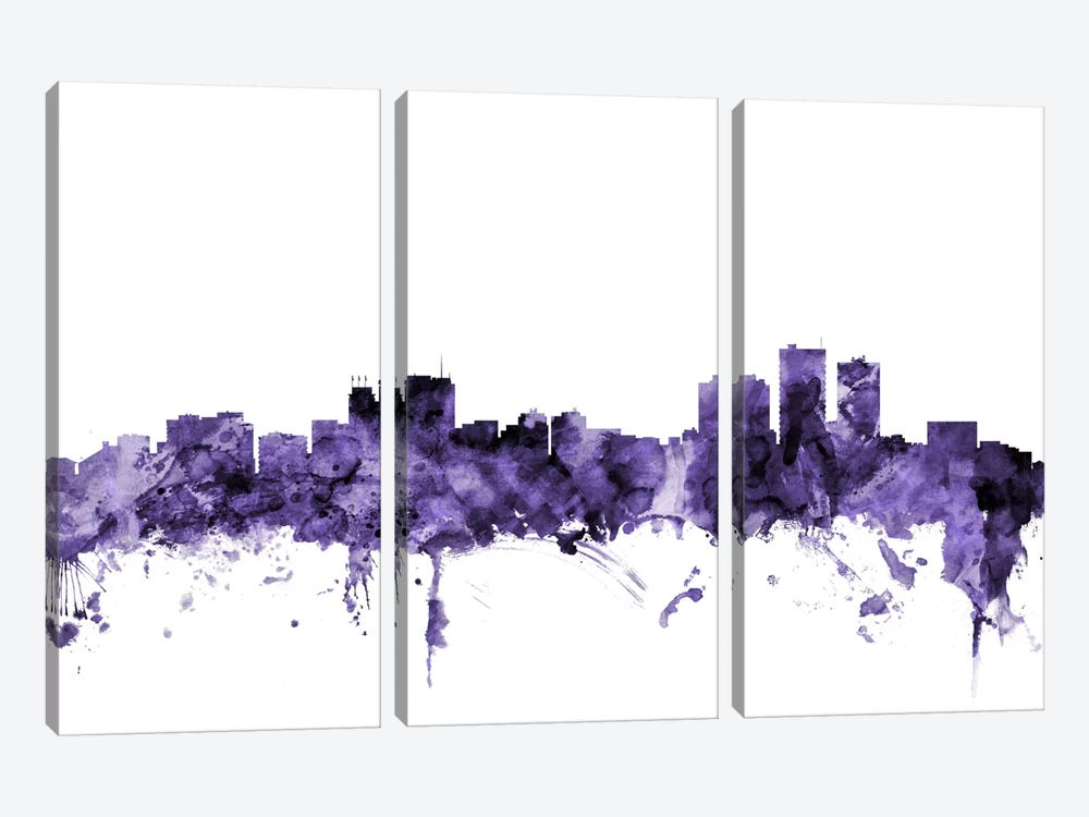 Anchorage, Alaska Skyline by Michael Tompsett 3-piece Canvas Art Print